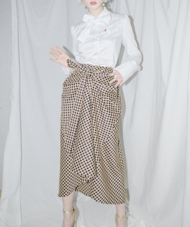 [CLUTSTUDIO] check tied full skirt
