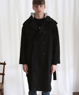 [ANOUTFIT] UNISEX TRENCH DOUBLE COAT