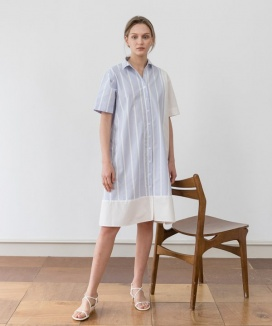 [YouNess] Stripe Block Shirtdress