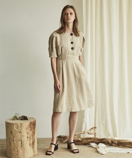 [Maison de Ines] FRONT BUTTON LINEN DRESS