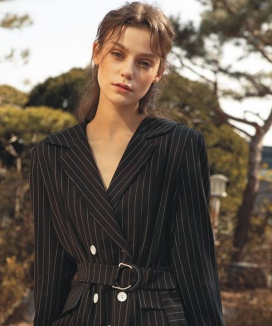 [HASHTAG 9] Belted Stripe Sailor Collar Jacket One-Piece