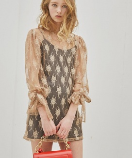 [Sorry, Too Much Love] Seethrough Volume Sleeve Lace Dress