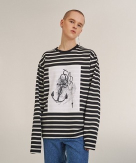 [A.GLOWW] [UNISEX]Printing Patch Stripe Long Sleeve