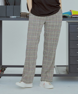 [UMM] TARTAN CHECK PINTUCK WIDE BANDING SLACKS