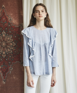 [INES] BLUE FRILL BLOUSE
