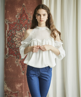[INES] NECK RIBBON POINT BLOUSE