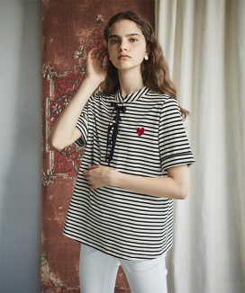 [INES] STRIPE LACE UP TOP