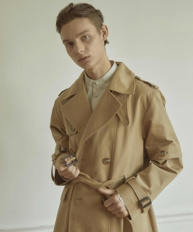 [WOONMU] DETACHABLE SLEEVE TRENCH COAT