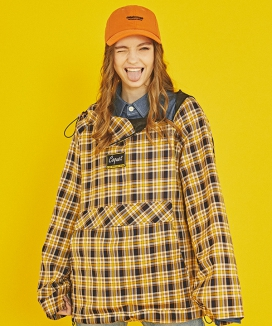 [COQUET STUDIO] DIAGONAL FAKE ZIPPER CHECK ANORAK