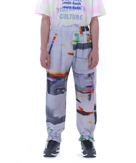 [youthbath] Graphic pattern wide track pants