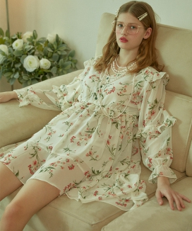 [VITALSIGN] Printed Floral Frilly Chiffon Unbalanced Dress