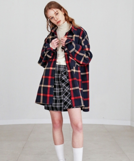 [S SY] OVERSIZE PLAID SHIRTS