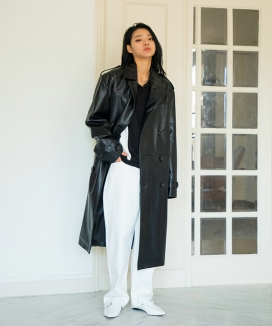 [XYZ] Unisex Leather Double Coat
