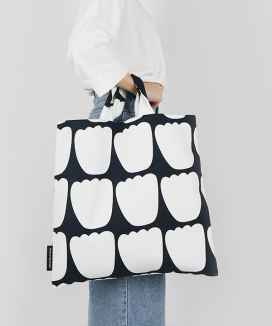 [dropdropdrop] TULIP PARADE BLACK, BIG TOTE BAG