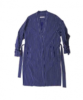 [Sserpe] Navy Stripe Mid Robe [Cotton]