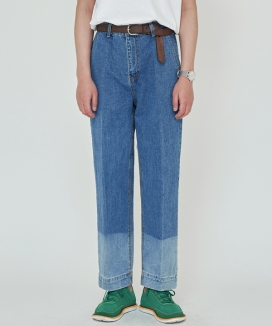 [TRIP LE SENS] TWO-TONE WASHED DENIM PANTS