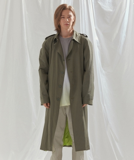 [INDIGO CHILDREN] COLOR BLOCKED SINGLE TRENCH COAT