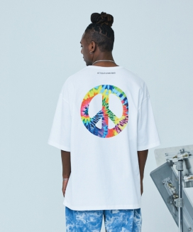 [ATTENTIONROW] Peace-Peace Graphic Overfit T-Shirt (3 color)