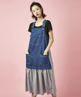 [Between A and B] SUSPENDER LONG DRESS