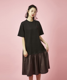 [Between A and B] CHECK MIX JERSEY DRESS
