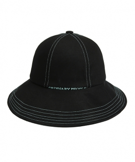 [ORDINARY PEOPLE] blue stitch point black bucket hat
