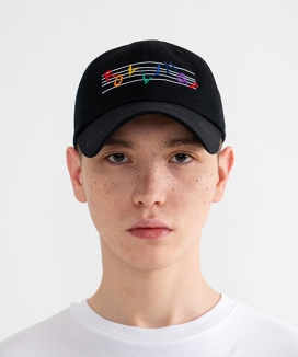 [Rolling Studios] RAINBOW MUSIC NOTE Logo Embroidered Ball Cap
