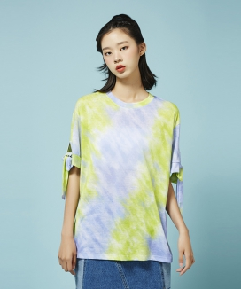 [Between A and B] DYED RIBBON SLEEVE TEE