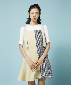 [Between A and B] CHECK MIX DOUBLE STRING DRESS