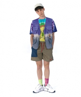 [youthbath] 14 Cotton Tie-dye Gradation fishing Vest