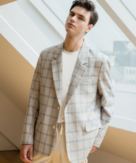 [suare] ONE COLOR CHECK JACKET