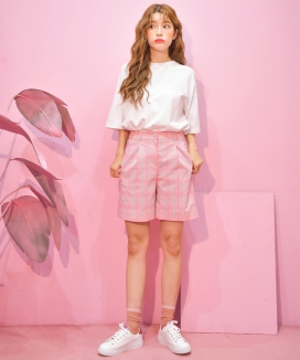 [ZEROSTREET] Pink Check Pants