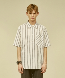 [MMH] PLACKET FRONT POCKET SHIRT [STRIPE]