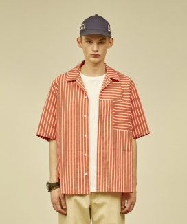 [MMH] OPEN COLLAR POCKET SHIRT [STRIPE]