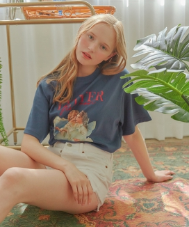 [LETTER FROM MOON] ANGEL LOGO EMBROIDERY T-SHIRTS