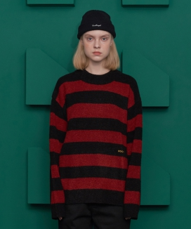 [UNALLOYED] STRIPE BOUCLE KNIT