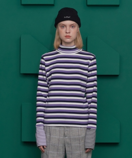 [UNALLOYED] STRIPE TURTLENECK T SHIRT
