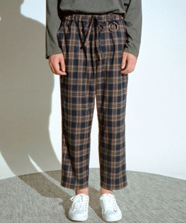 [A NOTHING] ALMAS CHECK LOOSE-FIT PANTS