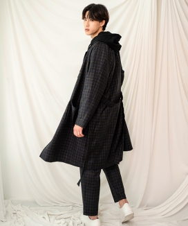 [PRAIRIE] EASY-CARE CHECK OVER-FIT ROBE COAT