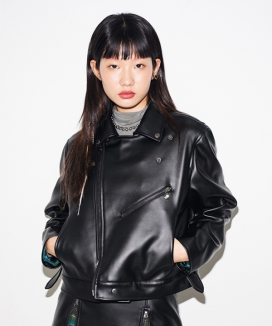[RUNNING HIGH] FAKE LEATHER CROP RIDER JACKET
