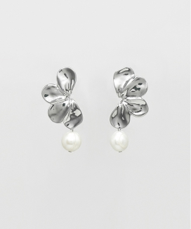 [FUZA] Shiny Silver Flower Earring with Freshwater Pearls