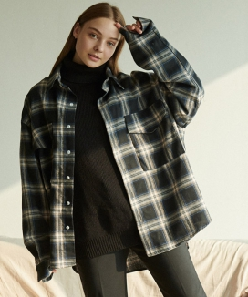 [ANOUTFIT] UNISEX OVERFIT CHECK SHIRTS JACKET