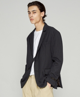 [TRIP LE SENS] WOOL HIDDEN STRAP CHECK SINGLE BLAZER