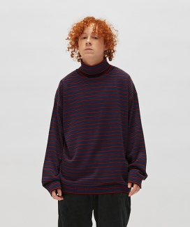 [WKNDRS] STRIPTED KNIT TURTLENECK