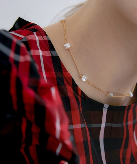[MIDNIGHT MOMENT] crumple pearl thin necklace (choker)