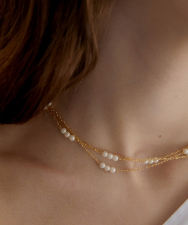 [MIDNIGHT MOMENT] triple pearl and line necklace (choker)