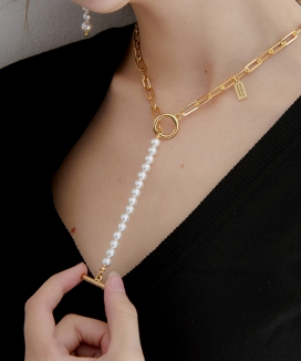 [MIDNIGHT MOMENT] part pearl necklace