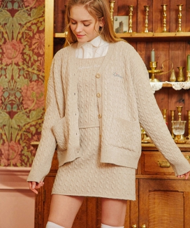 [LETTER FROM MOON] Heart Embroidery Wool Knit Cardigan