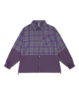 [BAEK-YA] HALF CHECK SHIRT JACKET