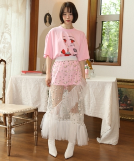 [CLUTSTUDIO] see-through flower skirt / シースルーフラワースカート