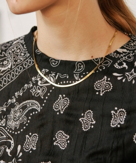 [13month] THICK FLAT SNAKE CHAIN NECKLACE / シックフラットスネーク チェーンネックレス